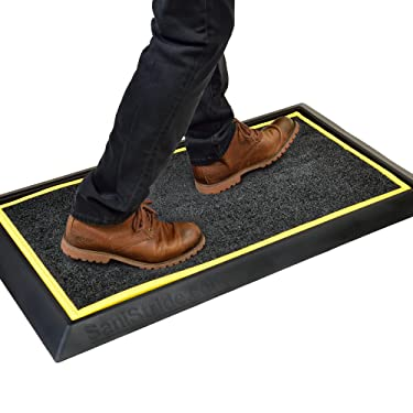"SaniStride Stride 1"" deep shoe sanitizer mat is antimicrobial when customer adds disinfectant to the boot bath mat system"