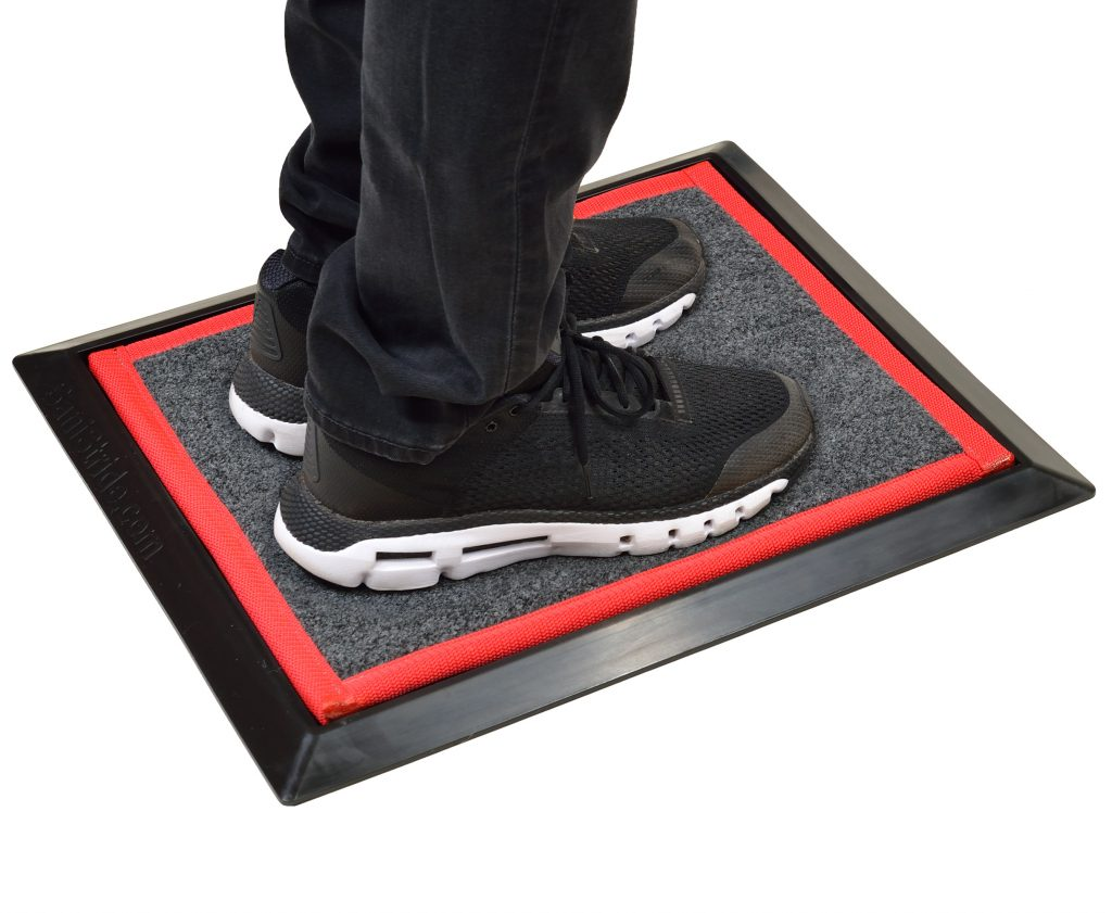Sanistride Sports mat, adding shoe disinfectant diminishes germs on shoe bottoms, use for athletics, locker rooms, wrestling, gyms
