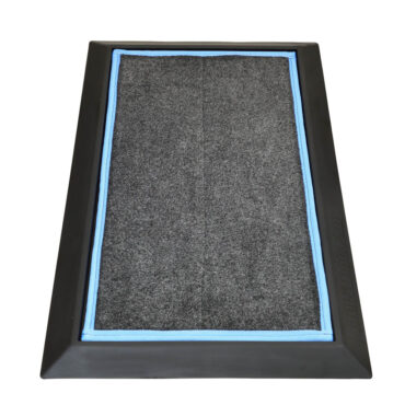 "SaniStride Stride 1"" deep shoe sanitizing mat diminishes the spread of germs, customer adds disinfectant of choice to the boot bath mat system."