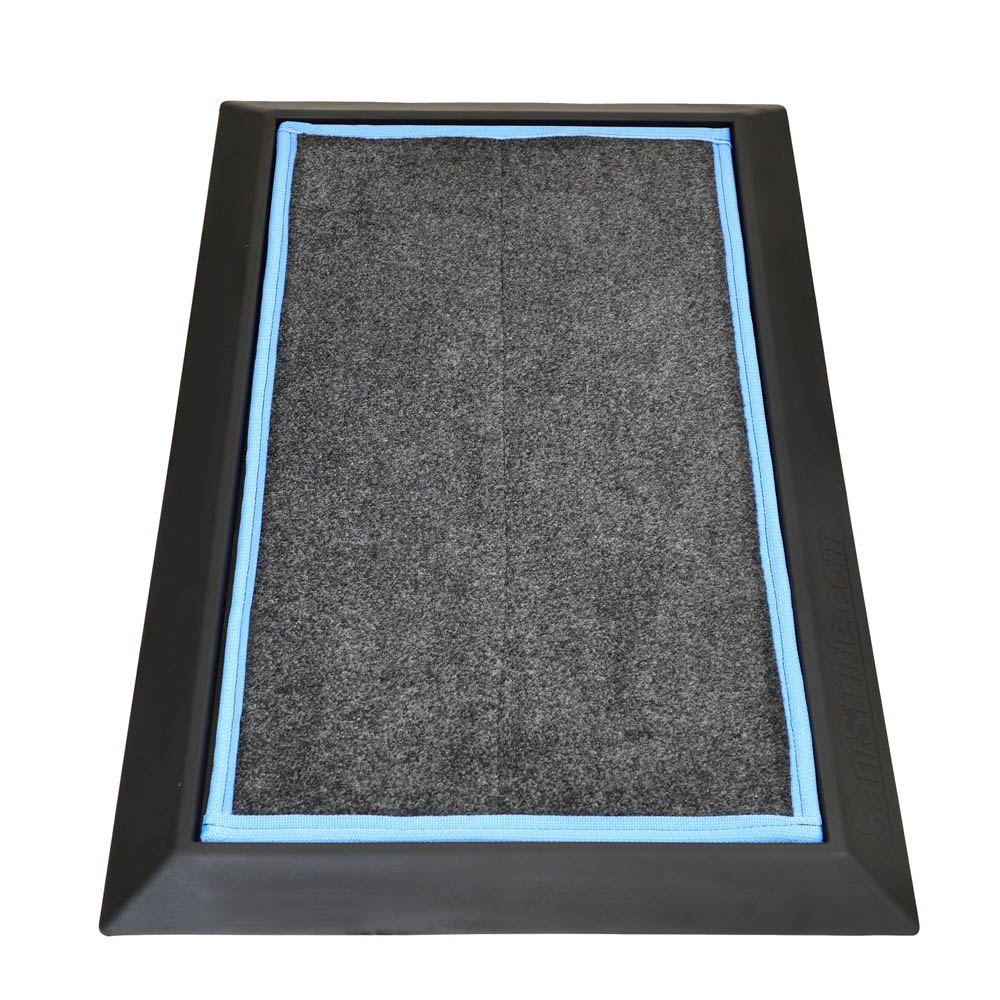 """SaniStride Stride 1"""" deep shoe sanitizing mat diminishes the spread of germs, customer adds disinfectant of choice to the boot bath mat system."""