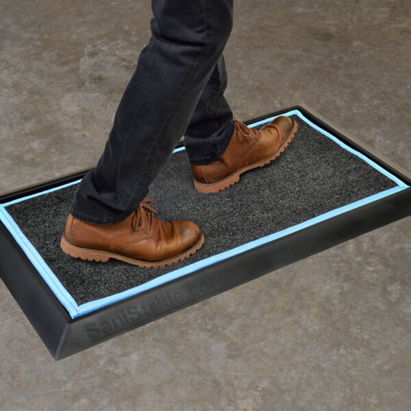 """SaniStride Stride 1"""" deep shoe sanitizer mat is antimicrobial when customer adds disinfectant to the boot bath mat system"""