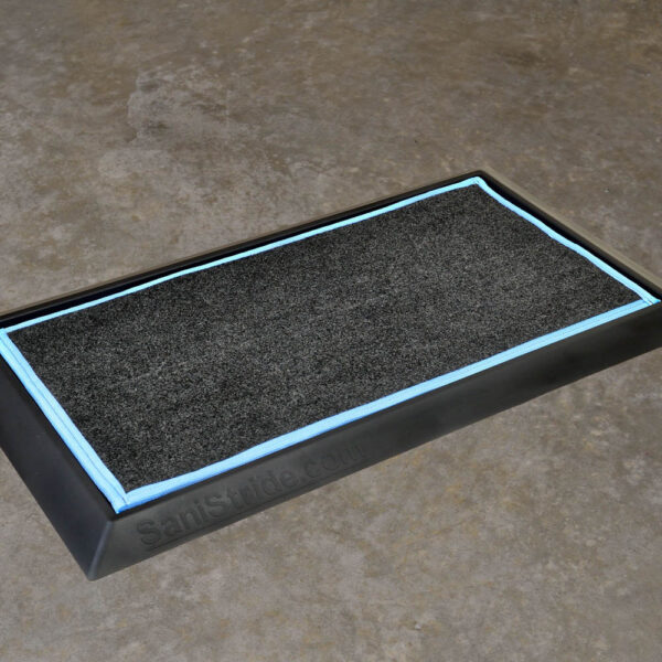 """SaniStride Stride 1"""" deep shoe sanitizing mat diminishes the spread of germs, customer adds disinfectant of choice to the boot dip mat system."""