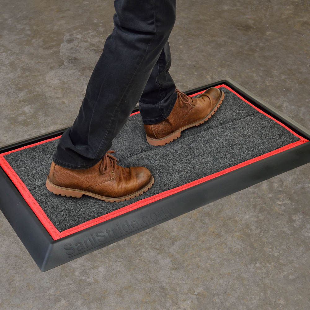 SaniStride Stride shoe disinfecting mat kills 99.9% of germs on shoes once sanitizer is added, boot dip mat