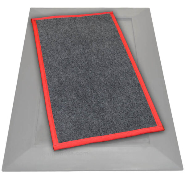SaniStride Low Profile shoe sanitizer mat disinfects the bottoms of footwear once customer adds sanitizer, meets ADA specifications, antimicrobial mat