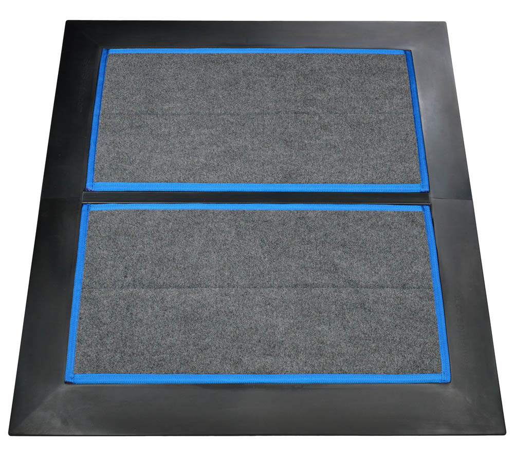 SaniStride Low Profile 2 piece Wide Runner shoe disinfecting mat system sanitizes shoe bottoms when sanitizer is added, meets ADA specifications