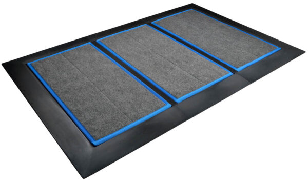 SaniStride Low Profile 3 piece Wide Runner shoe disinfecting doormat system sanitizes shoe bottoms when sanitizer is added, meets ADA specifications