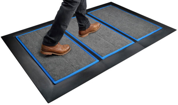 SaniStride Low Profile 3 piece Wide Runner shoe sanitizer mat system sanitizes shoe bottoms when sanitizer is added, meets ADA specifications