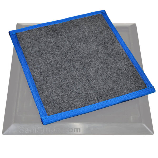 Sanistride shoe disinfectant mat Sports insert dispenses customer's disinfectant to bottom of shoes thoroughly saturating them to control germ contamination