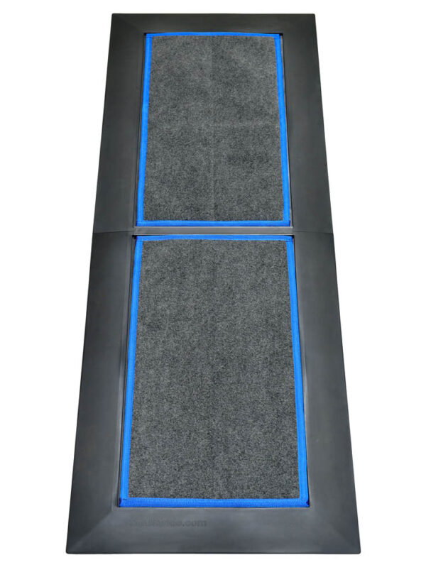 SaniStride Low Profile 2 piece Long Runner shoe sanitizing mat system disinfects shoe bottoms when sanitizer is added and meets ADA specifications