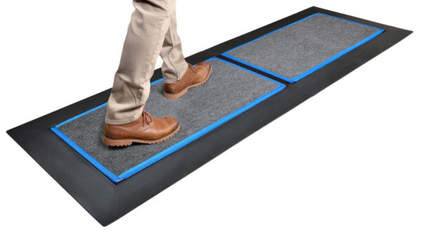SaniStride Low Profile 2 piece Long Runner shoe disinfectant mat system sanitizes shoe bottoms when sanitizer is added, meets ADA specifications