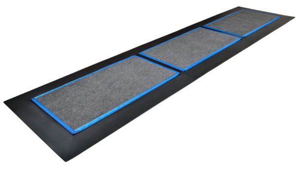 SaniStride Low Profile 3 piece Long Runner shoe disinfecting mat system sanitizes shoe bottoms when sanitizer is added, meets ADA specifications