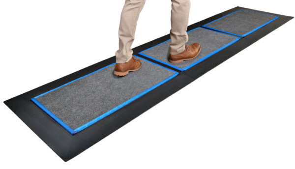 SaniStride Low Profile 3 piece Long Runner shoe sanitizer mat system disinfects shoe bottoms when sanitizer is added, meets ADA specifications
