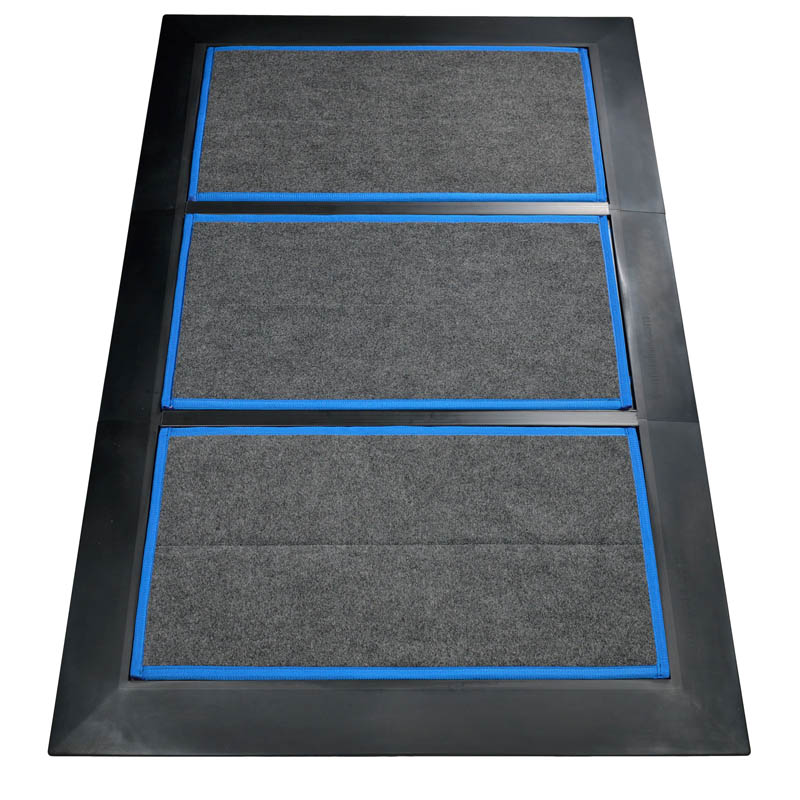 SaniStride Low Profile 3 piece Wide Runner footwear sanitizer doormat system disinfects shoe bottoms when sanitizer is added, meets ADA specifications
