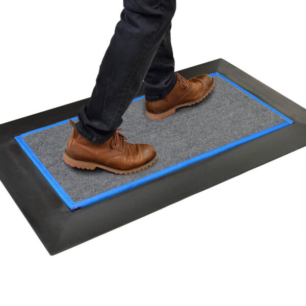 SaniStride Low Profile shoe sanitizing doorway mat system disinfects shoe bottoms with customer's sanitizer added, meets ADA specifications