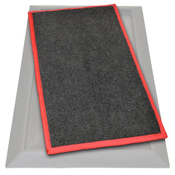 Sanistride shoe disinfecting mat insert that dispenses sanitizer added by customer to bottom of shoes thoroughly saturating treads