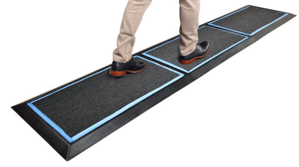 SaniStride Stride 3 piece Long Runner sanitizer boot dip mat system disinfects boot bottoms when sanitizer is added