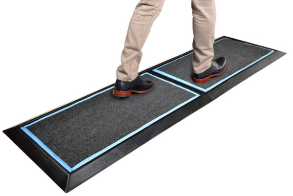 """SaniStride 1"""" deep 2 piece Long Runner shoe and boot disinfecting mat system sanitizes footwear bottoms once sanitizer is added"""