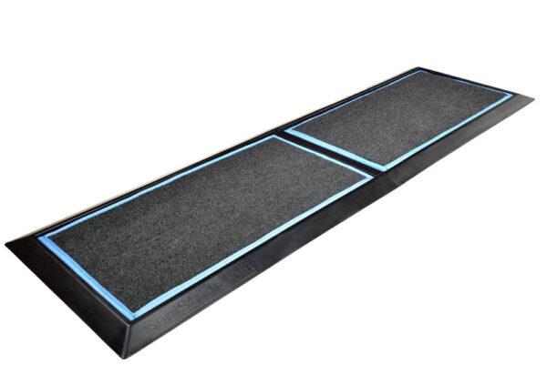 "SaniStride 1"" deep 2 piece Long Runner boot bath mat system sanitizes boot bottoms once sanitizer is added"