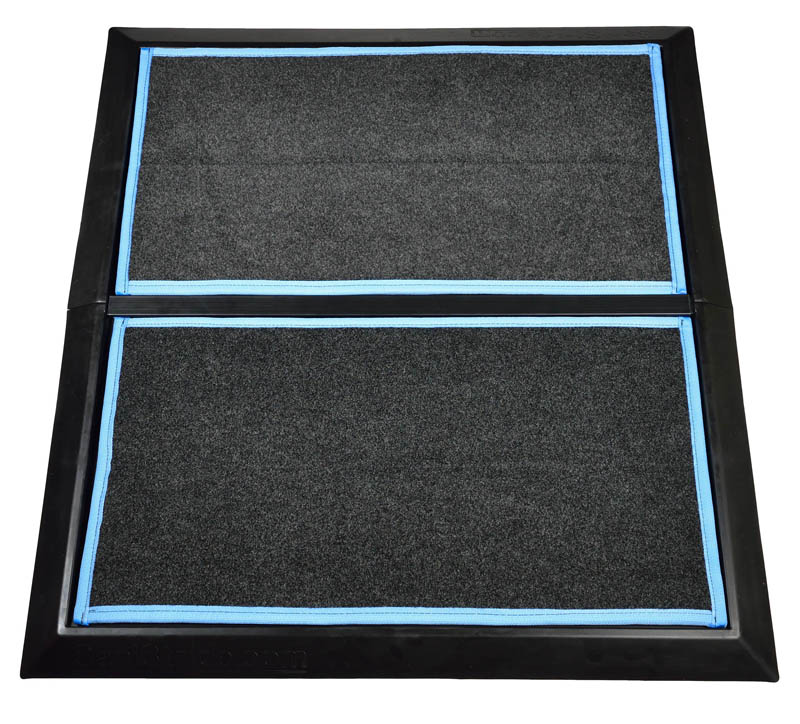 """SaniStride 1"""" deep 2 piece Wide Runner shoe and boot disinfecting mat system sanitizes footwear bottoms once sanitizer is added"""