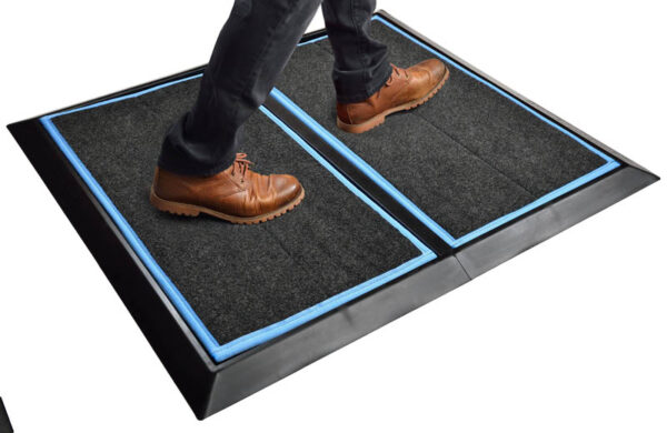 "SaniStride 1"" deep 2 piece Wide Runner boot bath mat system sanitizes boot bottoms once sanitizer is added"