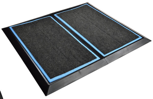 "SaniStride 1"" deep 2 piece Wide Runner boot Dip mat system sanitizes boot bottoms once sanitizer is added"