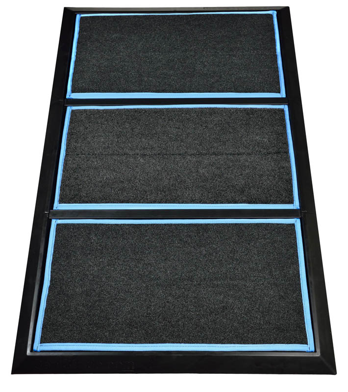 """SaniStride 1"""" deep 3 piece Wide Runner shoe and boot disinfecting mat system sanitizes footwear bottoms once sanitizer is added"""