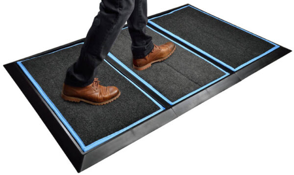 "SaniStride 1"" deep 3 piece Wide Runner shoe and boot disinfecting mat system sanitizes footwear bottoms once sanitizer is added"