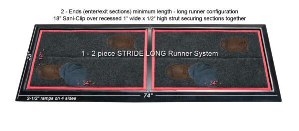 SaniStride Stride 2 piece Long Runner sanitizer boot dip mat system disinfects boot bottoms when sanitizer is added